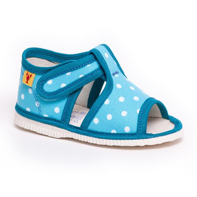d6c4561d18540 Detská obuv tyrkysová bodka - papuče s otvorenou špicou - Prezuvky.sk