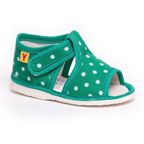 Papuče zelená bodka