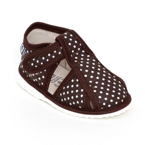 Papuče hnedé bodky