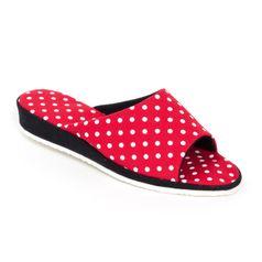 Dámske papuče červené bodky
