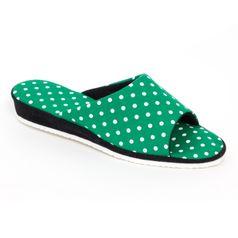 Dámske papuče zelené bodky