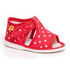 Papuče červená bodka