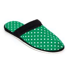 Pánske papuče zelená bodka