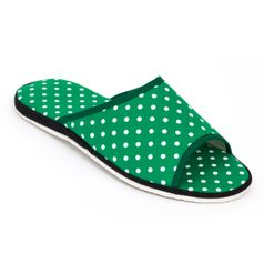 Pánske papuče zelená bodka otvorené