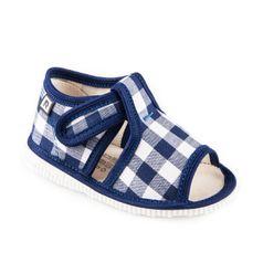 Papuče modré vichy káro
