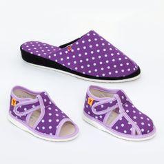 Rodinné balenie - dámske a detské papuče fialové bodky