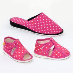 Rodinné balenie - dámske a detské papuče ružové bodky