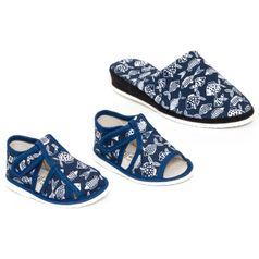 Rodinné balenie - dámske a detské papuče RYBY MODRÉ