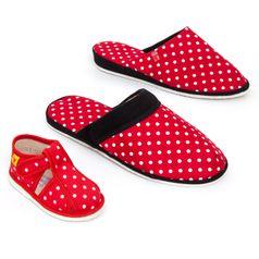 Rodinné balenie - dámske, pánske a detské papuče červené bodky