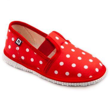 Papuče červené bodky