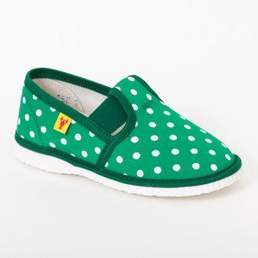 Papuče zelené bodky