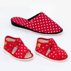 Rodinné balenie - dámske a detské papuče červené bodky