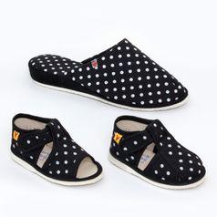 Rodinné balenie - dámske a detské papuče čierne bodky