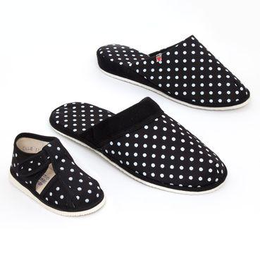 Rodinné balenie - dámske, pánske a detské papuče čierne bodky