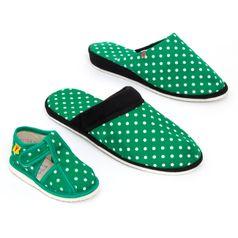 Rodinné balenie - dámske, pánske a detské papuče zelené bodky