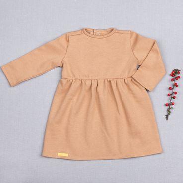 Šaty béžové riasené GOTS - zateplené