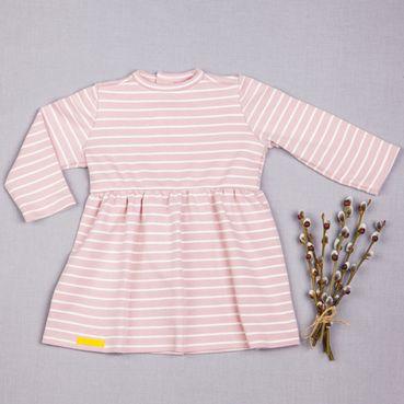 Šaty ružový pásik riasené GOTS