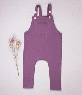 Tepláky trakové fialové zateplené - GOTS