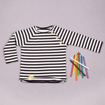 Tričko čierny pásik dlhý rukáv - GOTS