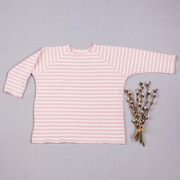 Tričko ružový pásik dlhý rukáv - GOTS