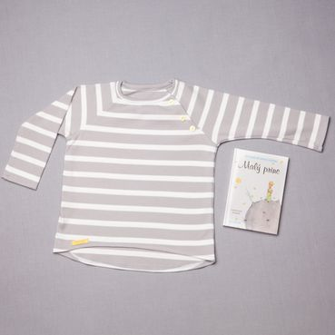 Tričko šedý pásik dlhý rukáv - GOTS