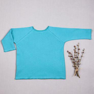 Tričko tyrkysové dlhý rukáv - GOTS