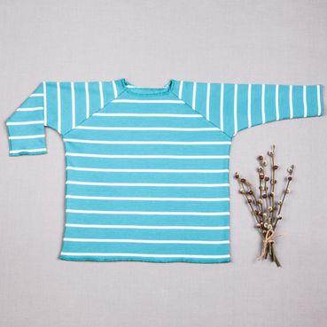 Tričko tyrkysový pásik dlhý rukáv - GOTS