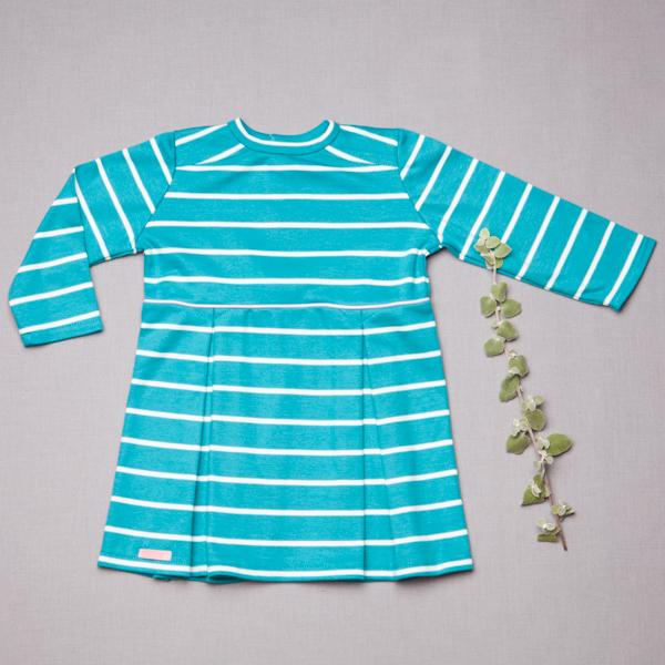 b531aca06 Detské oblečenie. Šaty tyrkysový pásik GOTS