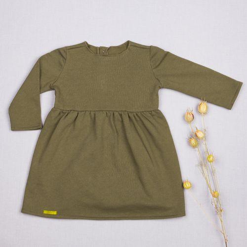 Šaty zelené riasené GOTS - zateplené